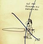 « Só doi quando eu desenho » faz parte da pasta de desenhos censurados que o cartunista Nani recebeu de volta de Brasilia. - Acervo privado – Reprodução autorizada